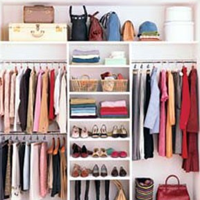 This open closet from RealSimple.com has a minimal amount of clothes, shoes, and accessories. (Nothing is crammed in.)