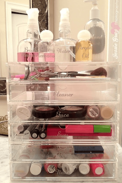 Love these simple stacking trays for make-up, etc.  I bought some things like this for my jewelry.