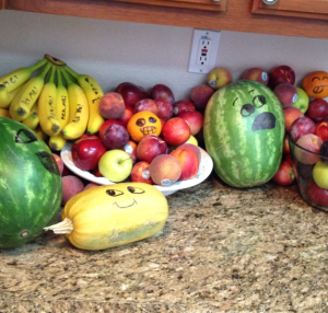 I (April) love to purchase produce when it's on sale and fill our counters. And my daughter Grace likes to decorate it.