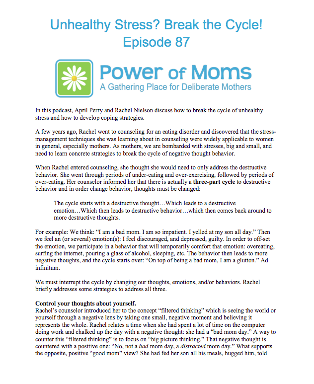 UnhealthyStress.powerofmoms.com